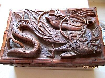Beautiful,hand Carved,raised 3 Toe Dragon,puzzle,lrg Wooden Box,super Condition