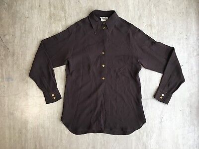 Hermes vintage chocolate heavyweight silk shirt, size 36, made in France