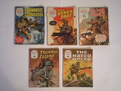 5 x BATTLE PICTURE LIBRARY COMICs # 188 294 453 575 616 - 1965-1972 - some 1/-