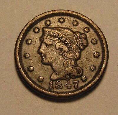 1847 Braided Hair Large Cent Penny - AU Condition - 58SU