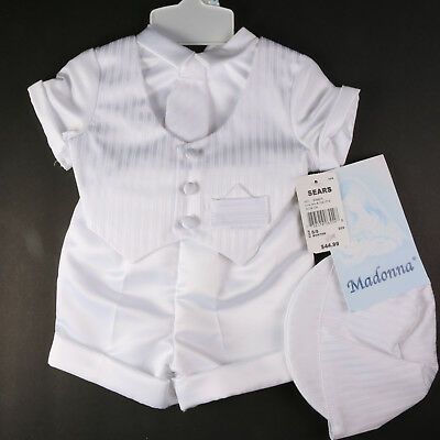 Madonna Baptism Infant Boys Tie Hat Shorts Christening 3 Piece Outfit Nwt 0-3M