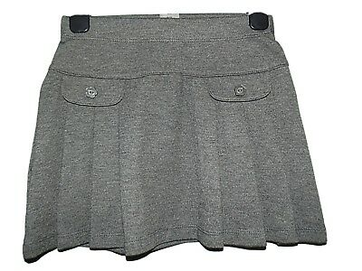 NEW GIRLS EX STORE GREY JERSEY PLEATED SCHOOL SKIRT AGE 4-12 yrs POCKETS (TT)