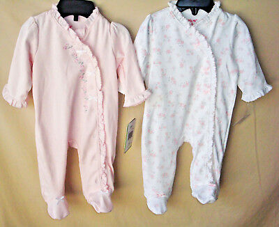 LITTLE ME 100% Cotton 2 Pack WHITE & PINK Footie GIRL SIZES NWT