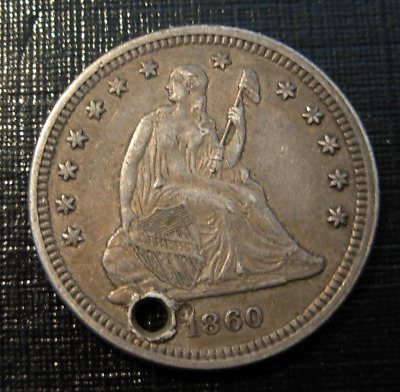 USA 1860 Silver 25 Cents Quarter Dollar Seated Liberty Holed