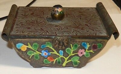 Rare Old Chinese Cloisonne Repousse Enamel Floral Design Humidor Jar Box