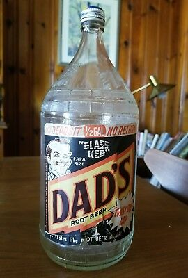 Dad's Root Beer 1/2 Gallon Bottle glass keg Papa Size paper label & cap