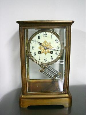 Japy Freres French Bronze Mantel Clock W/ Porcelain Dial & Glass Vial Pendulum