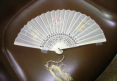 Lovely Chinese Hand Embroidered Silk Fan W/ Carved Bovine Bone Sticks