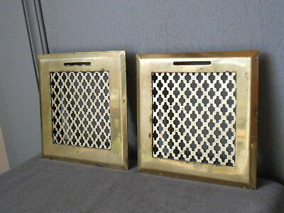 Pair FRENCH Vintage BRASS HEATING GRATES VENTS PLAQUES