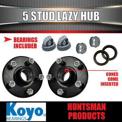 2X 5 Stud Trailer Lazy Hubs Suit Ford 5/114.3 PCD  & LM (Holden) Koyo Bearings
