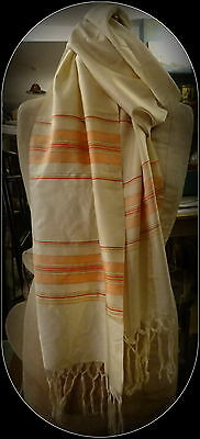Superb Vintage Handwoven Middle Eastern Silk Scarf Stole Very Long