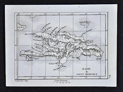c1835 Levasseur Map - Haiti & Santo Domingo Port au Prince Caribbean West Indies