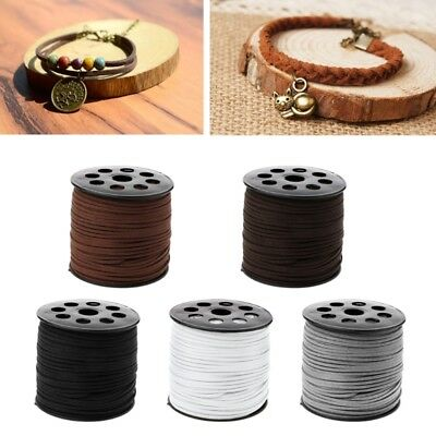 DIY  3mm 90m/roll Faux Suede Cord Leather String Rope Thread for Jewelry Making