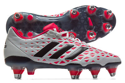 adidas Mens adipower Kakari Soft Ground Rugby Boots Sports Shoes Studs White