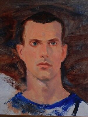 Fred E Salmon Jr. Oil Painting Portrait Handsome Young Blue Eyes Man Boy Male