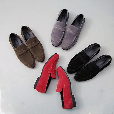 Mens Minimalism Loafers Suede Leather Driving Peas Shoes Slip on Formal Casual