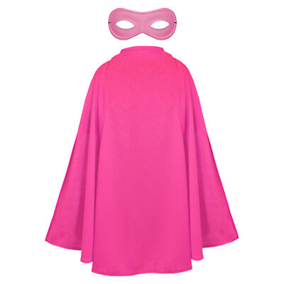 Pink Cape And Mask Childs Superhero Fancy Dress Costume Unisex Wear It Pink