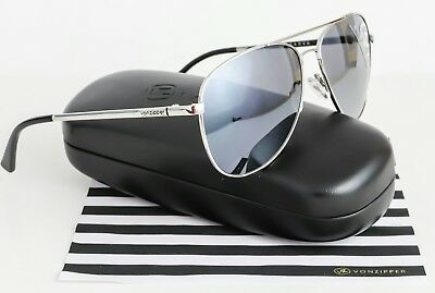 a9cb5806f8 New Von Zipper FARVA Metal Aviator Sunglasses Silver   Grey Chrome Lens SGC