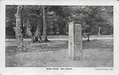 New Forest, Rufus Stone, an old unused black and white postcard
