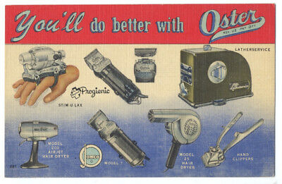 OSTER BARBER EQUIPMENT - RARE Linen Ad - CLIPPERS, DRYERS, Massage & Lather