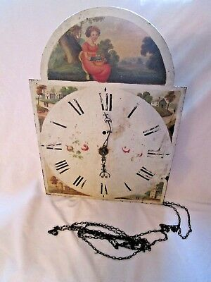 LARGE metal Pretty painted LONGCASE CLOCK DIAL / face SPARES REPAIR .& movement