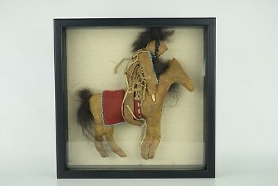 Antique Unusual Native American Walnut Head Beaded Leather Horse Rider Doll