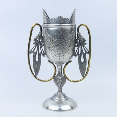 Antique American Aesthetic Movement Aurora Silverplate Brass Chalice Loving Cup