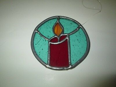 Beautiful Hand Crafted Stained Leaded Glass Ornament Sun Catcher Candle Design