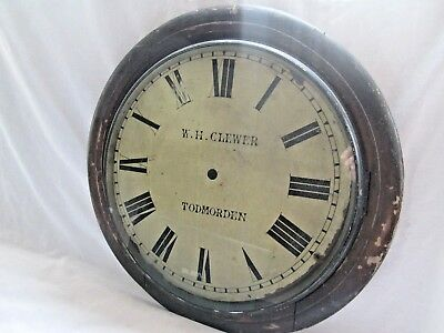 Old Antique Wall Clock Dial,frame Spares Or Repair .todmorden Lancashire
