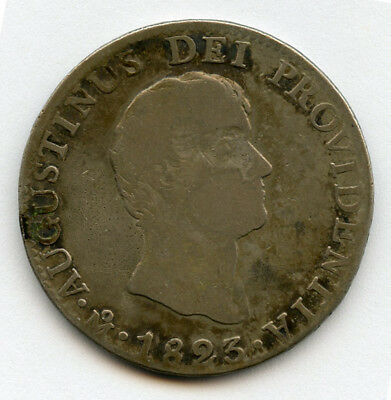 Mexico 1823-Jm Augustin Iturbide Empire 8 Reales Very Scarce Coin,nice Toned Vf.