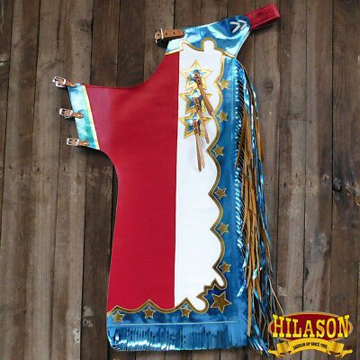 Ch406N-F Hilason Bull Riding Genuine  White Leather Rodeo Western Chaps