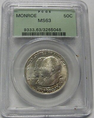 1923-S Monroe Silver Commemorative PCGS MS63 Nice Frosty Coin