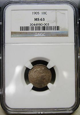 Attractive 1905 Silver Barber Dime Graded MS63 by NGC A Stunning Beauty