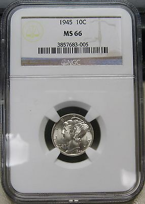 Gorgeous 1945 Mercury Silver Dime Graded MS66  by NGC A Stunning Beauty