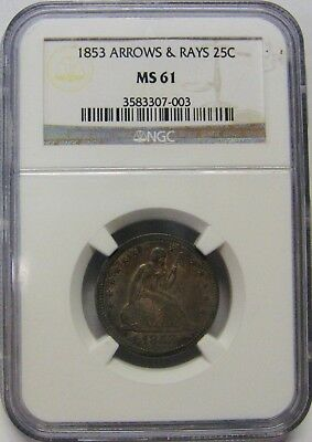 1853 Arrows and Rays Seated Liberty Silver Quarter NGC MS61 Nice Original Toning