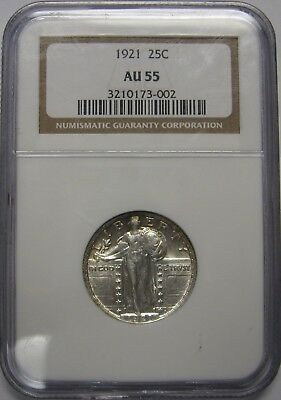 Stunning 1921 Standing Liberty Quarter NGC AU55 Exceptional Vibrant Eye Appeal