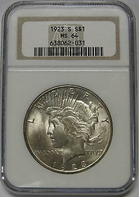 Gorgeous 1923-S Peace Silver Dollar NGC Graded MS64 Nice Frosty Gem
