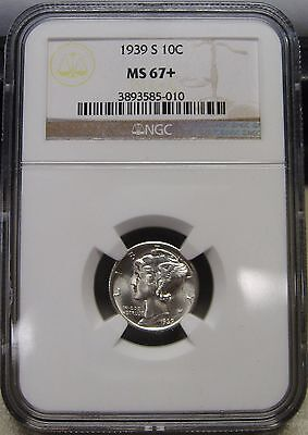 Flawless 1939-S Mercury Silver Dime Graded MS67+ by NGC A Stunning Beauty
