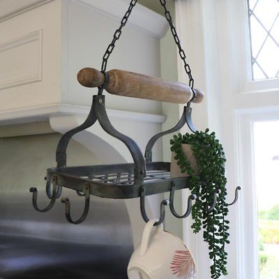 Black metal hanging pan rack rustic country cottage kitchen storage accessory