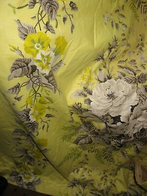 Vintage Cotton Chintz Fabric Pair Curtains Lined Yellow Grey Green & Pelmet 82""