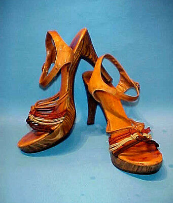 VTG 1970s WOOD PLATFORM HEELS, LEATHER ANKLE STRAPS w BRAIDED CORDING, MID C MOD