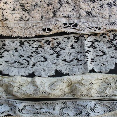 Antique lot of pieces of handmade cotton lace, floral, embroidered lace