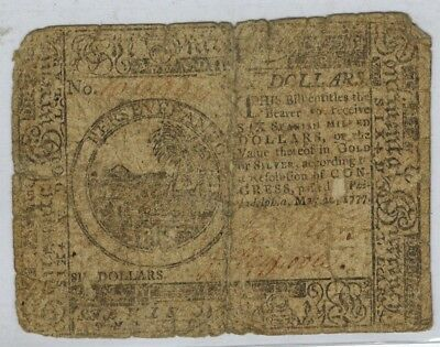Continental Colonial Currency May 20 1777 Issue 6 Dollars