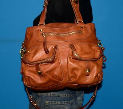 SABINA NY Brown  Leather Shopper Shoulder Carryall Cross-Body Tote Purse Bag