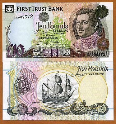 Ireland Northern, First Trust bank, 10 pounds, 1998, P-136, UNC > Sailboat