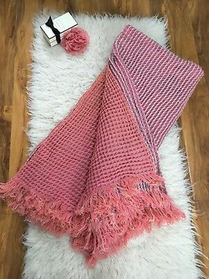 Vintage Antique Giant Large 60s Retro Pink Double Blanket Throw Bedspread Picnic