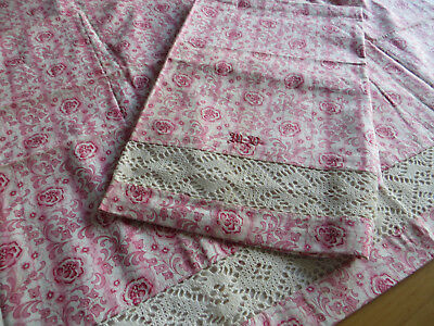 """Unused Set Of Two (2)  Pillowcases Shams  Flowers Mono MD 31"""" by 30"""" Bobbin Lace"""