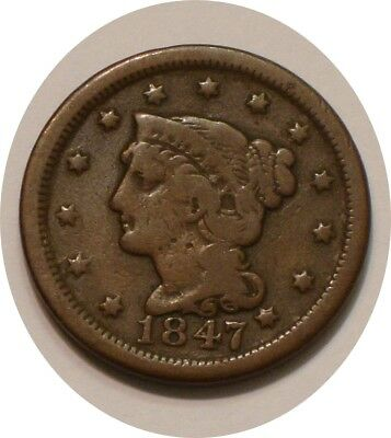 1847 Braided Hair Large Cent nice Brown FULL DETAIL