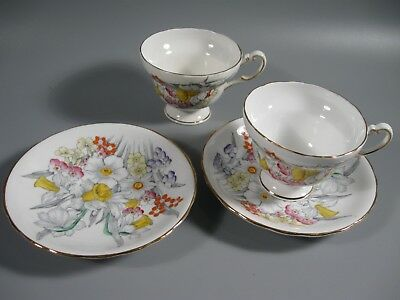 2 Sets VICTORIA DAFFODIL  Bone China Hand Painted Cups and Saucers
