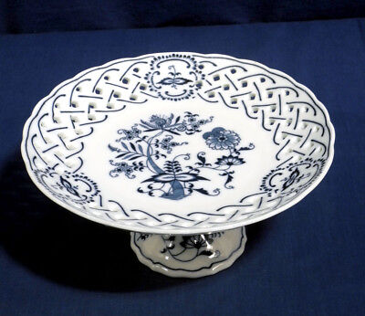 """Vtg Blue Danube Blue Onion Reticulated Compote Cake Stand 4"""" Tall 8-3/8"""" Wide"""